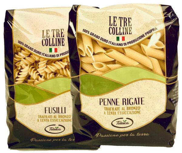 Fusilli penne rigate pasta di grano duro italiano